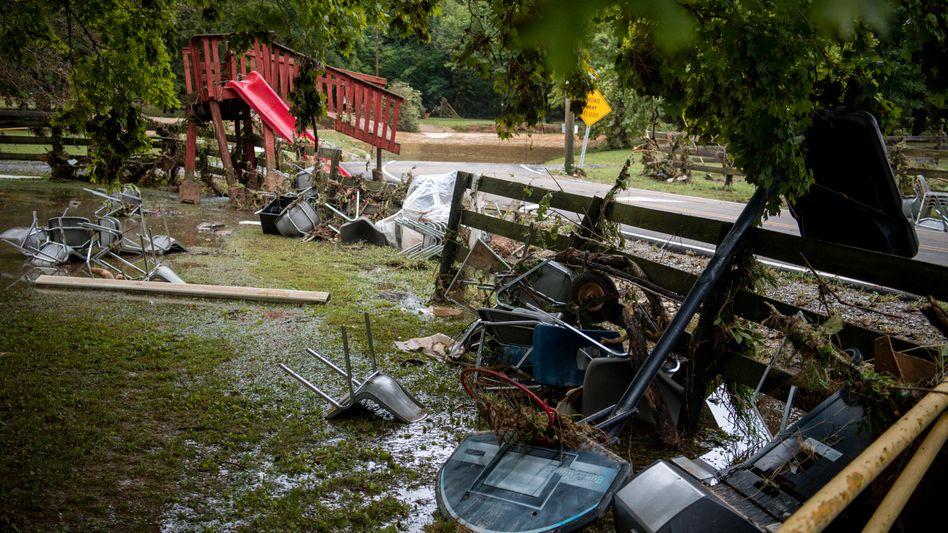 Treibgut: Trümmer an einer Straße bei Dickson in Tennessee