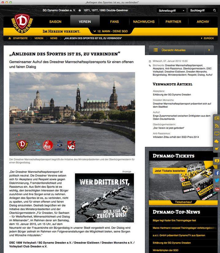 """Aufruf Dresdner Klubs: """"Gegen Rassismus"""""""