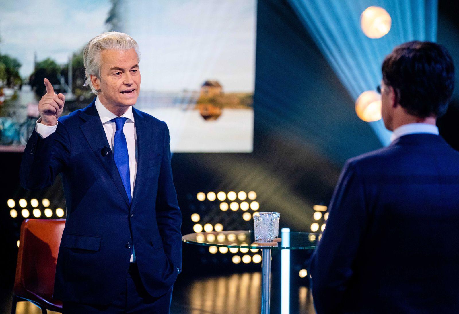 Geert Wilders and Mark Rutte in election debate