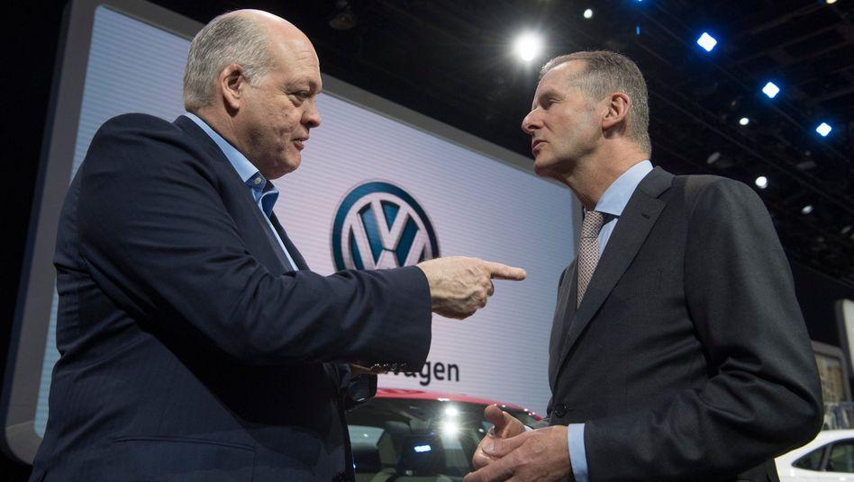 Ford-Chef Jim Hackett und Herbert Diess, Vorstandsvorsitzender von VW