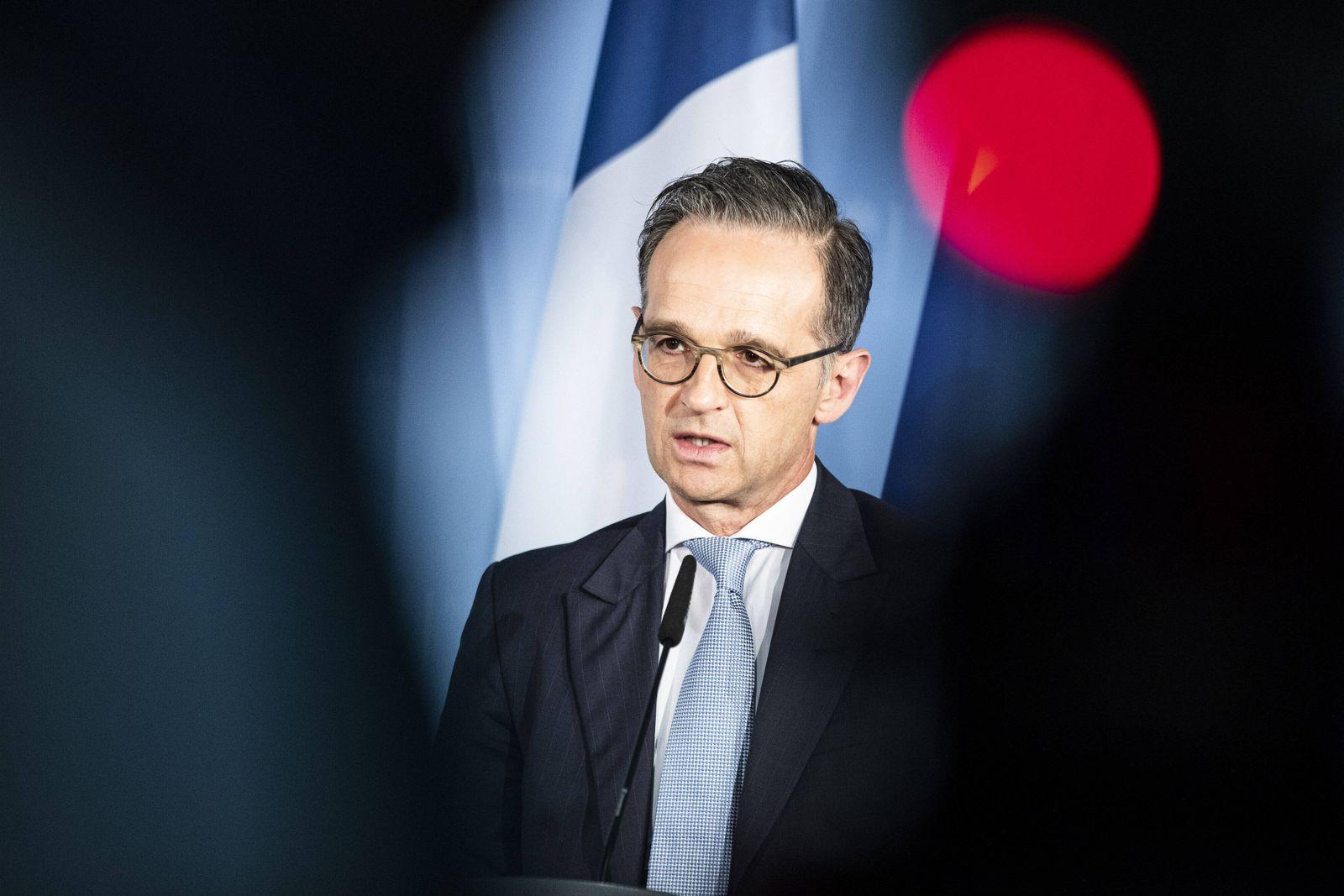 Heiko Maas, Bundesaussenminister, spricht zu den Medien nach einer Videokonferenz im N4-Format (Normandie-Format) mit d