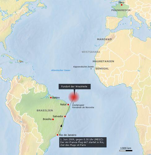 Im Atlantik: Fundort der Wrackteile