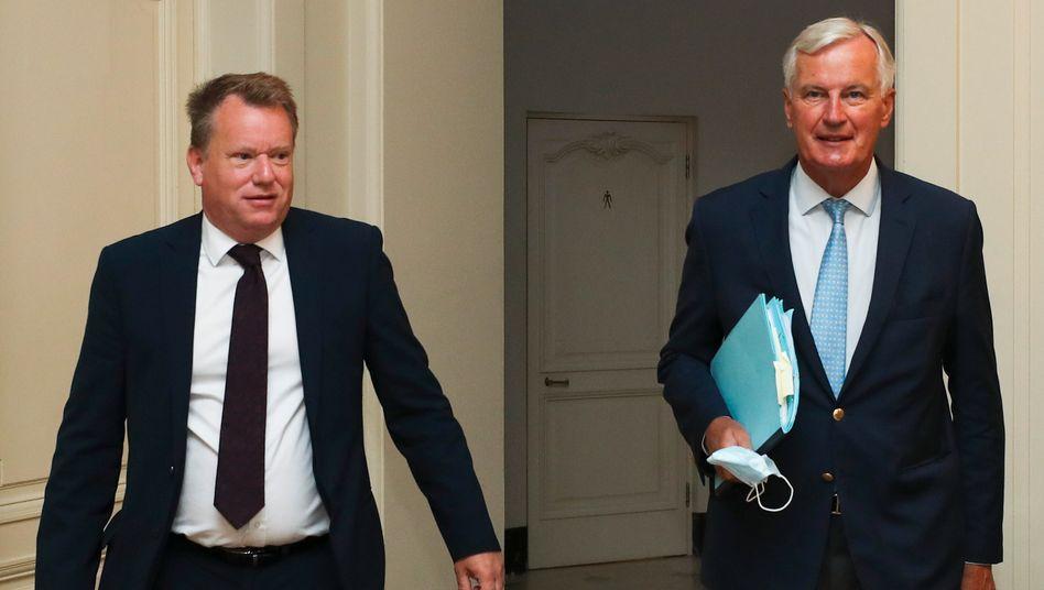 Die Chefunterhändler Großbritanniens und der Europäischen Union nach den Verhandlungen: David Frost und Michel Barnier