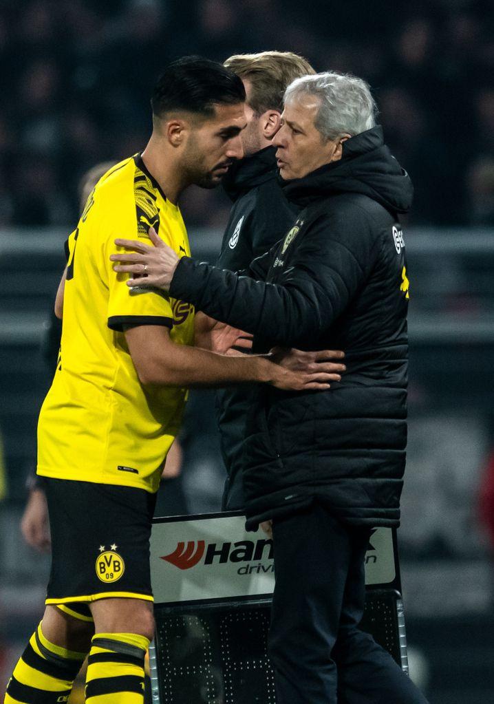 """Ein erfolgreiches Duo gegen Frankfurt: """"Der Trainer hat uns ganz genau gesagt, wie wir vorne pressen sollen"""", sagte Dortmunds Emre Can (links) über seinen Coach Lucien Favre"""