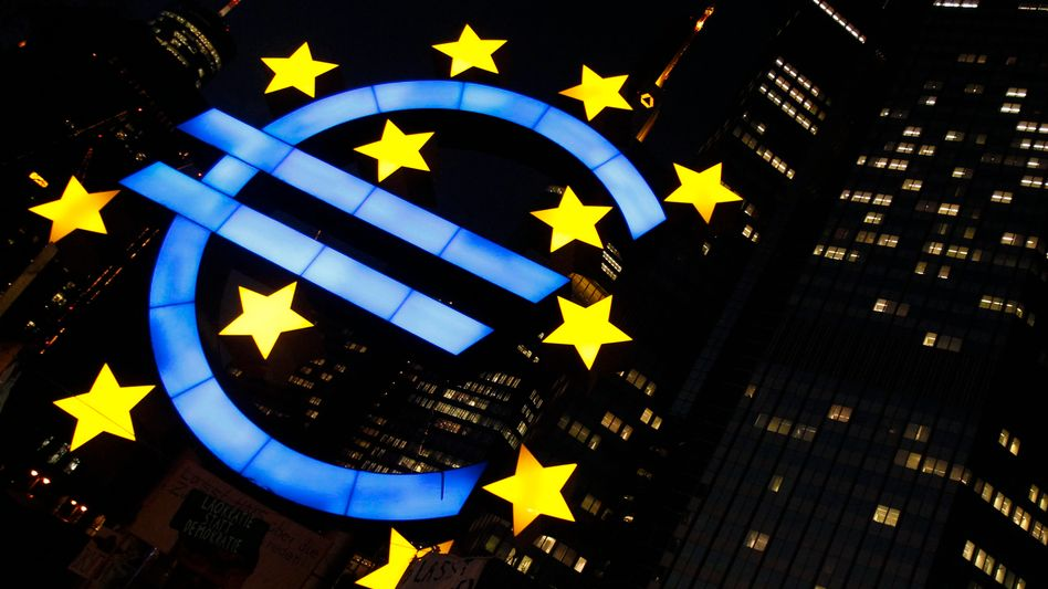 A sculpture of the Euro currency sign at ECB headquarters in Frankfurt.