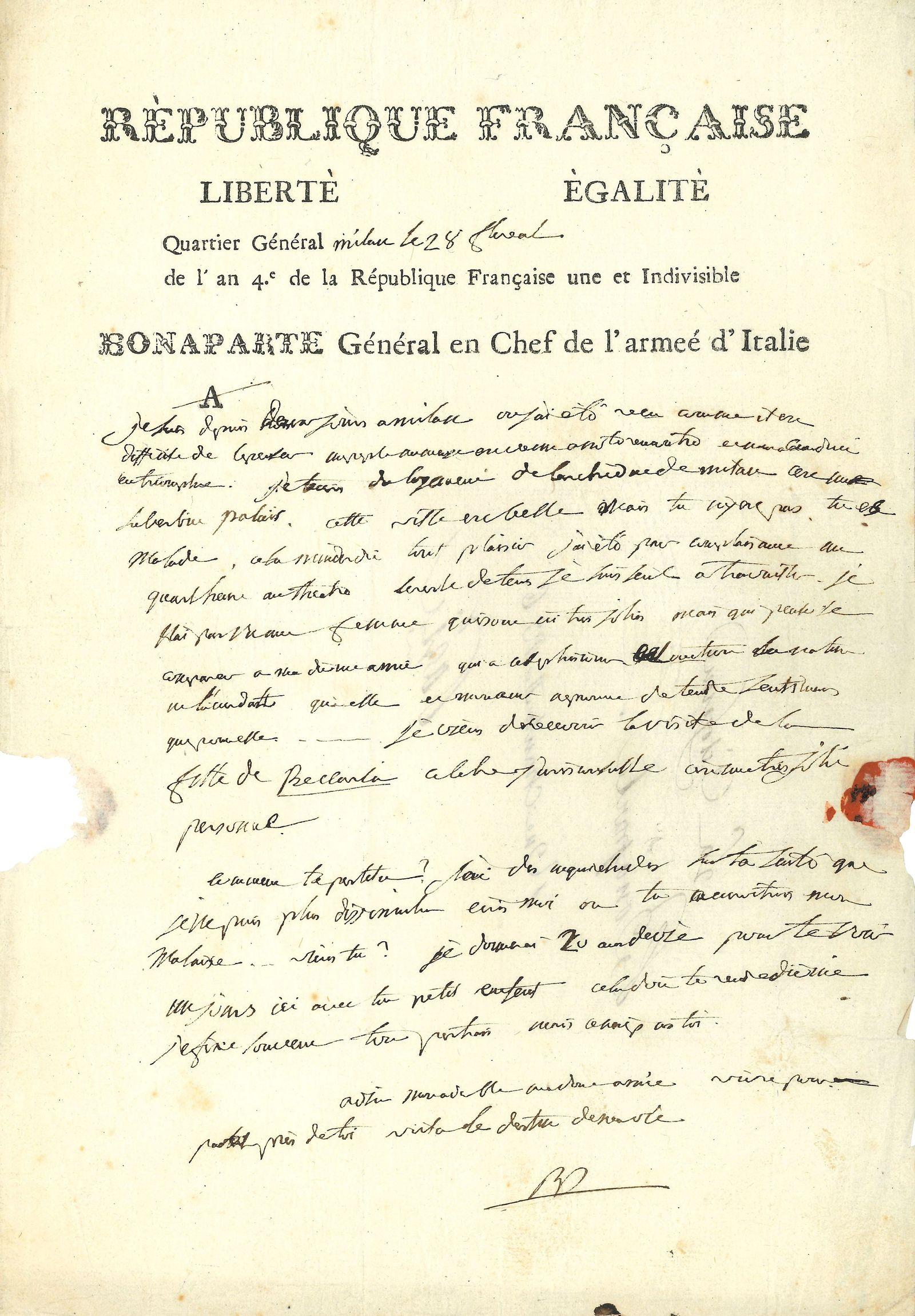 EINMALIGE VERWENDUNG Birefe von Napoleon an Josephine