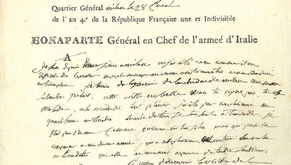 Brief von Napoleon an seine Frau Josephine, geschrieben im Mai 1796