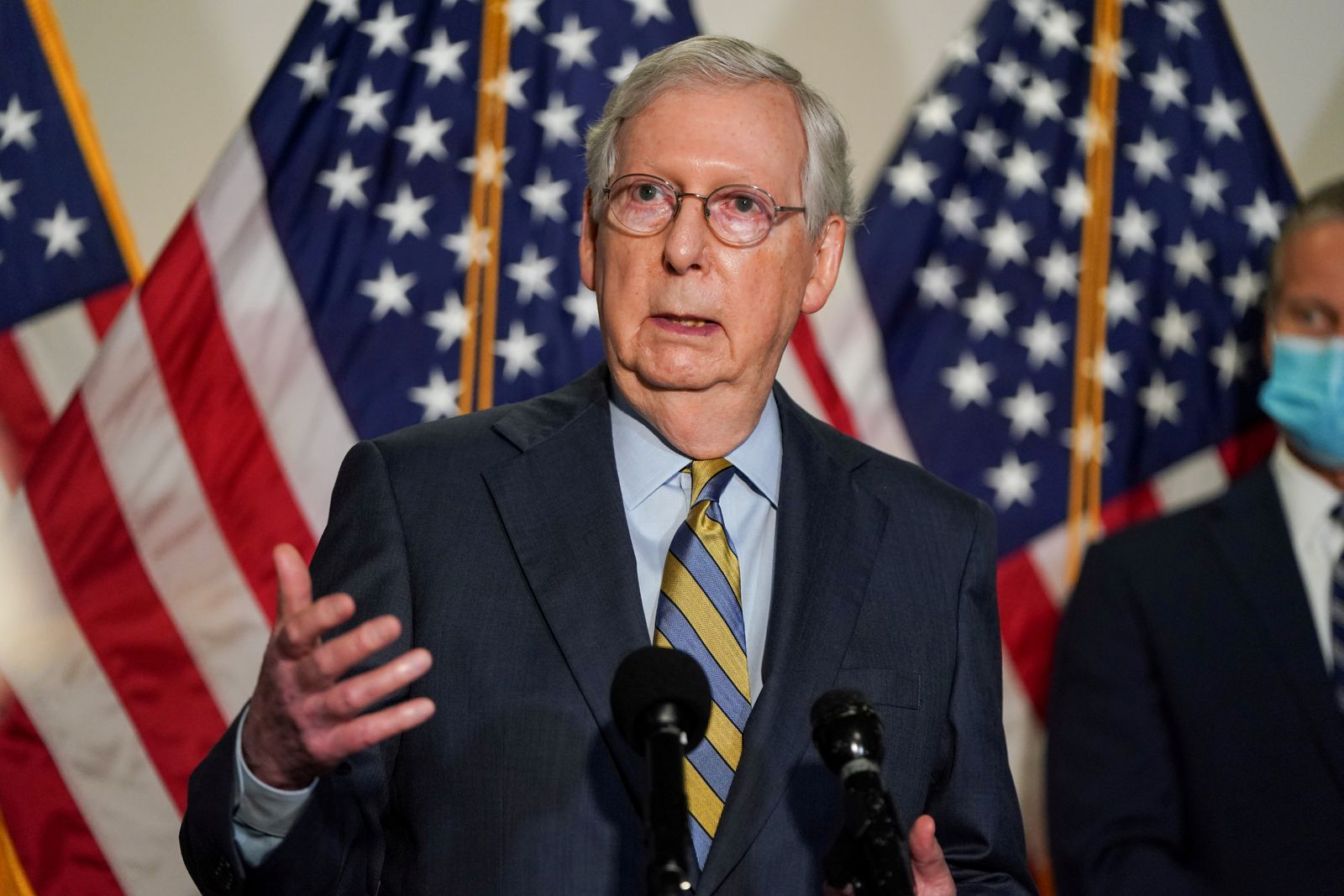 FILE PHOTO: Senate Majority Leader Mitch McConnell (R-KY) speaks to the media in Washington