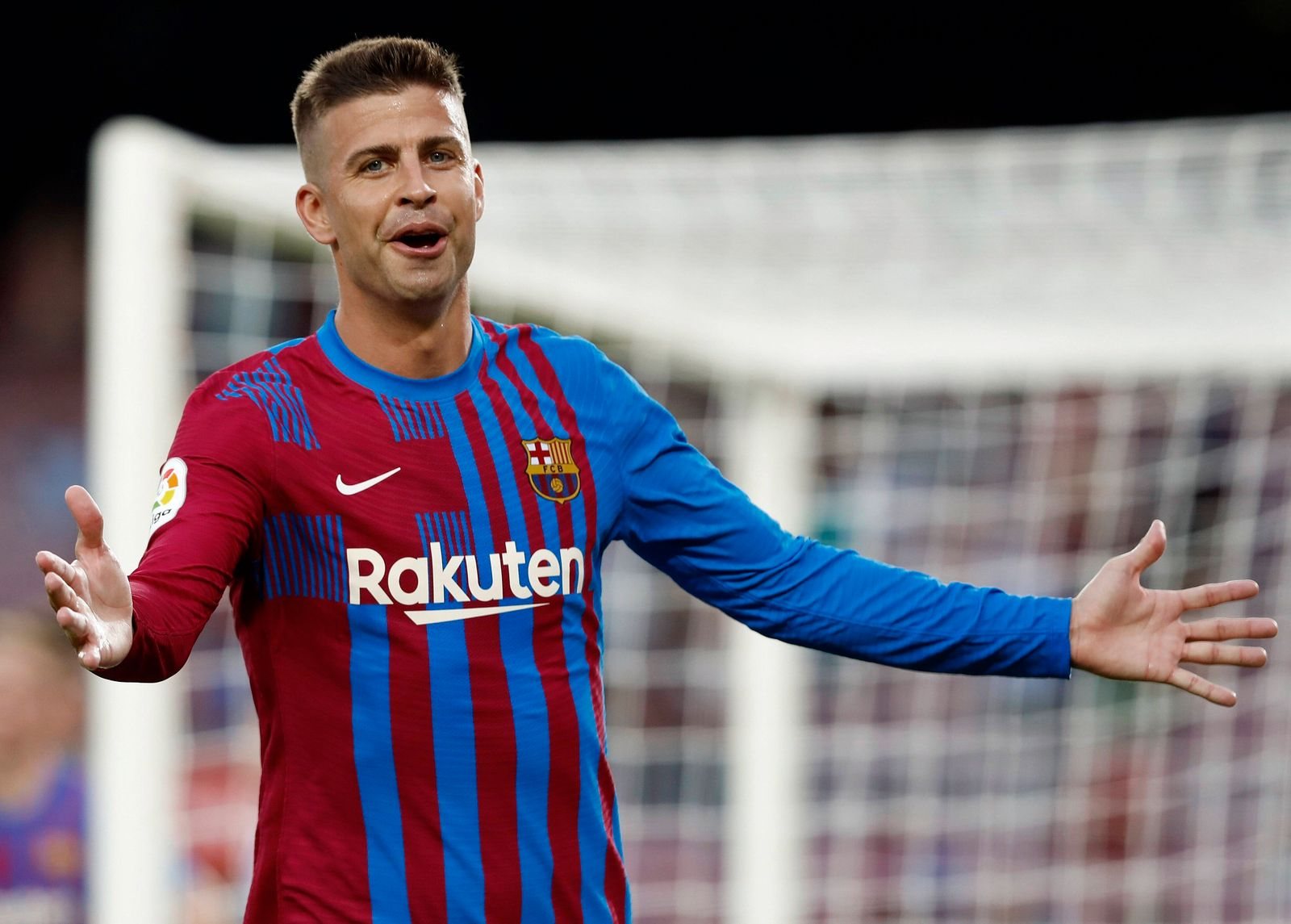 FC Barcelona, Barca s Gerard Pique reacts during a Spanish LaLiga soccer match between FC Barcelona and Real Sociedad a