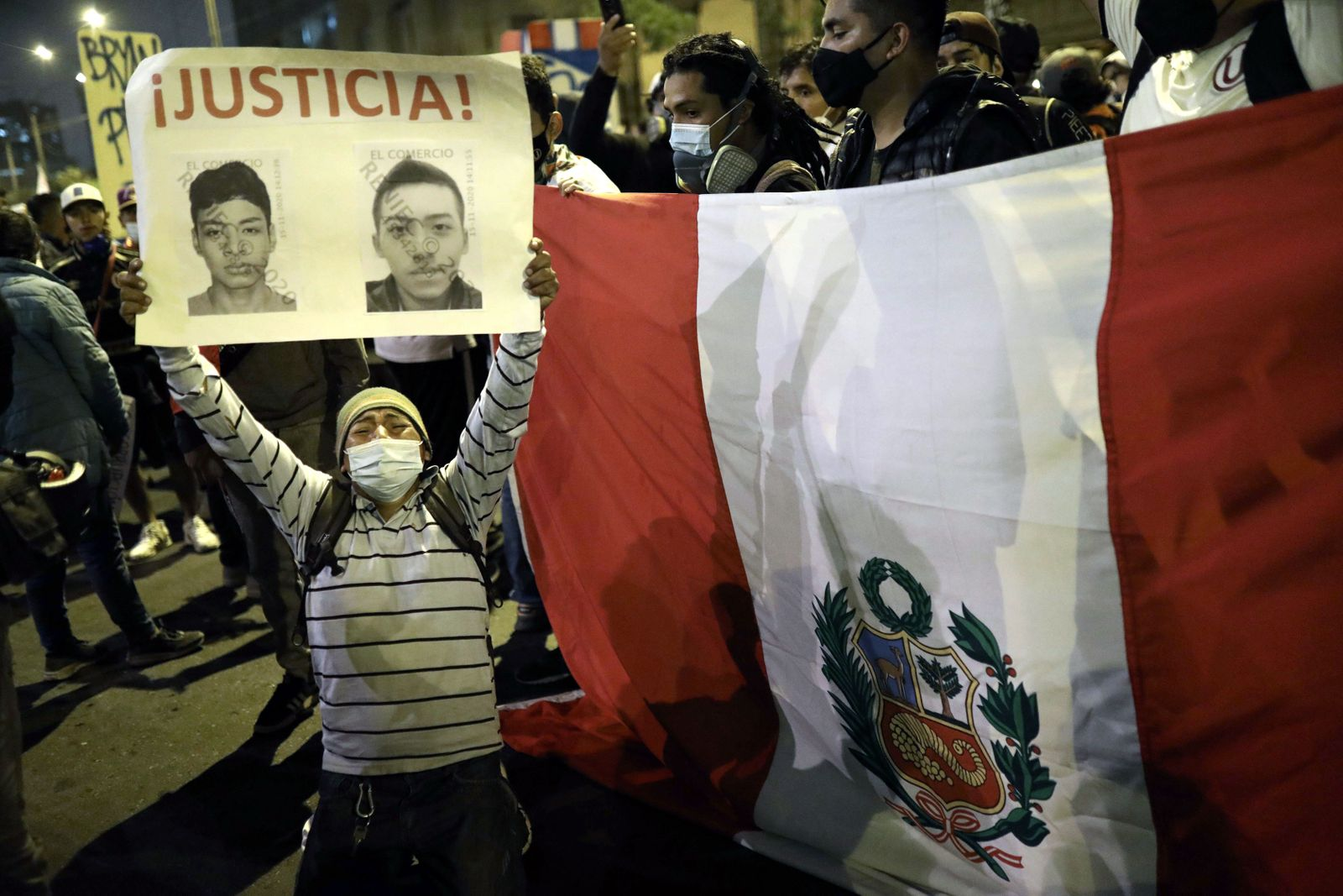 People protest for new constitution in Peru, Lima - 18 Nov 2020