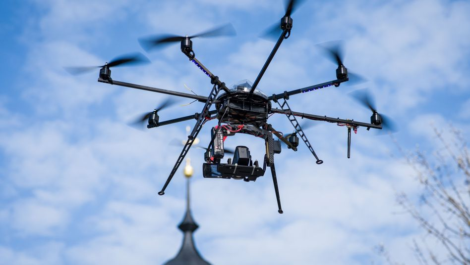 This camera drone in Bavaria is used by a television production team.