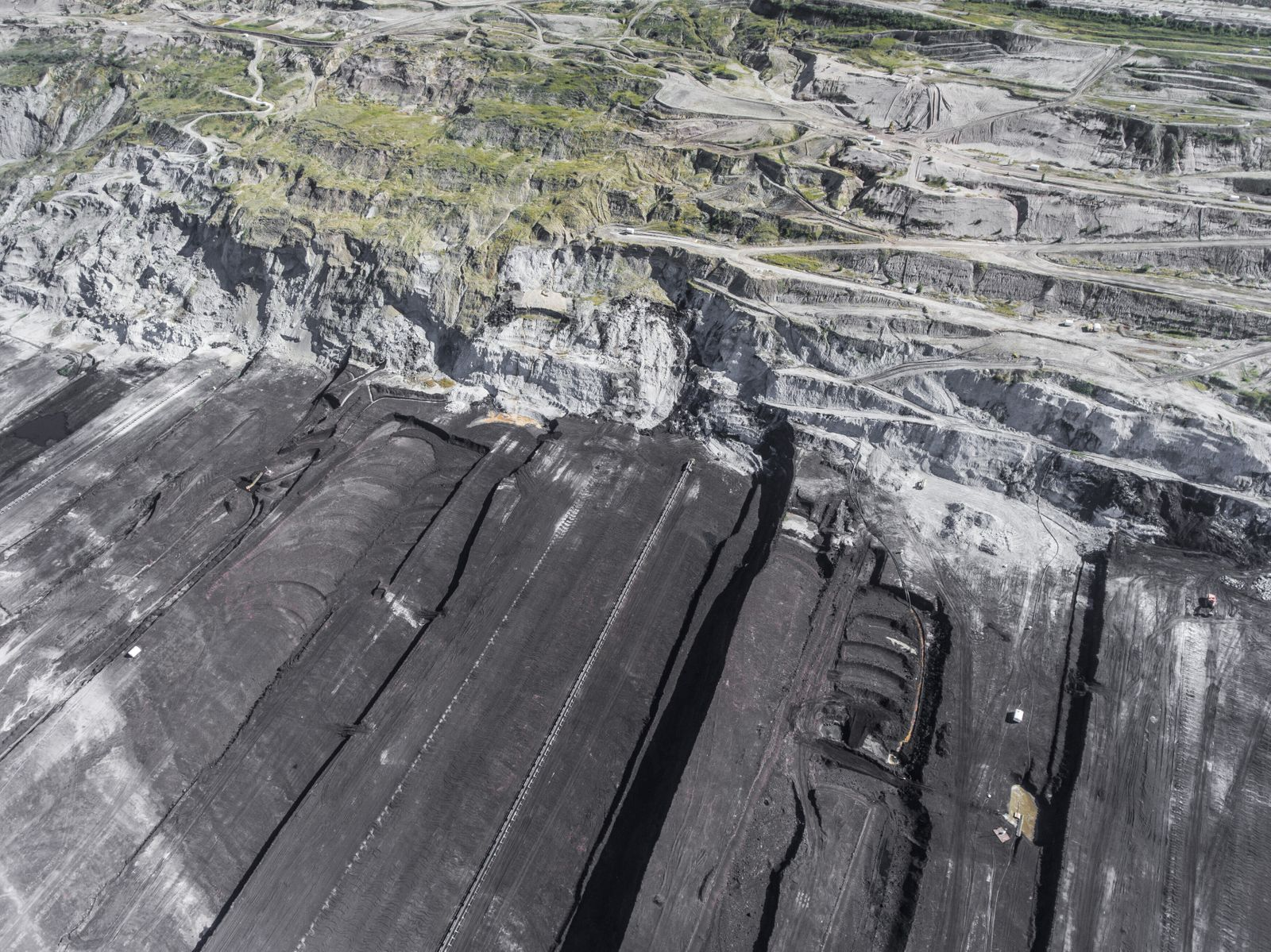Surface coal mining in Poland. Destroyed land. View from above. Surrealistic landscape. (Curioso_Travel_Photo)