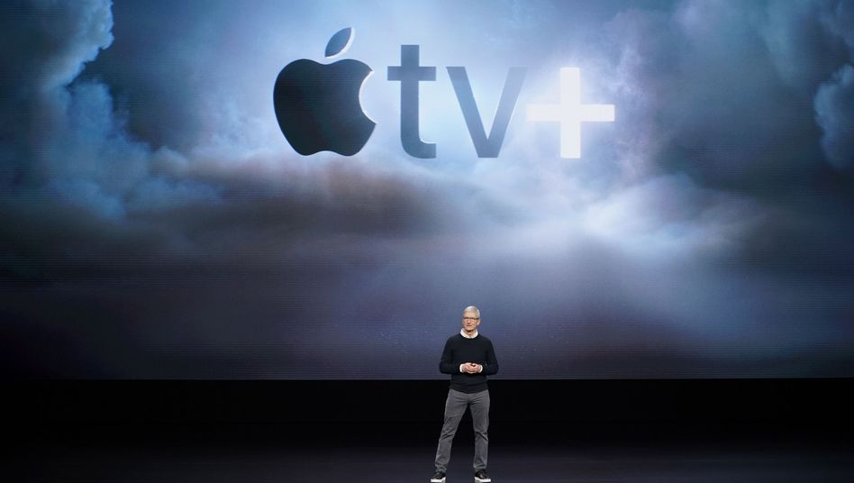 Apple-CEO Tim Cook bei der Vorstellung von Apple TV+ im Steve Jobs Theatre in Cupertino