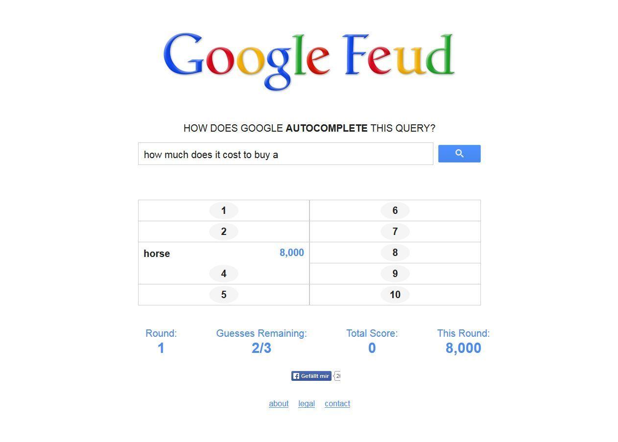 NUR ALS ZITAT Screenshot Google Feud