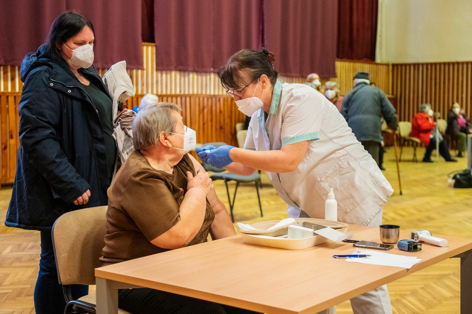 The vaccination center against COVID-19 start operation on February 26, 2021, in the House of Culture in Stribro, near T