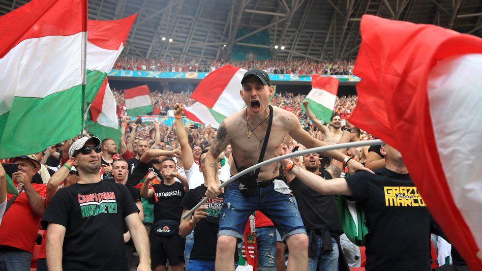 Mitglieder der »Carpathian Brigade 09« beim EM-Spiel zwischen Ungarn und Frankreich