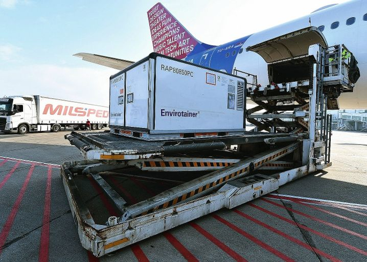 A vaccine delivery from China at the Belgrade airport.