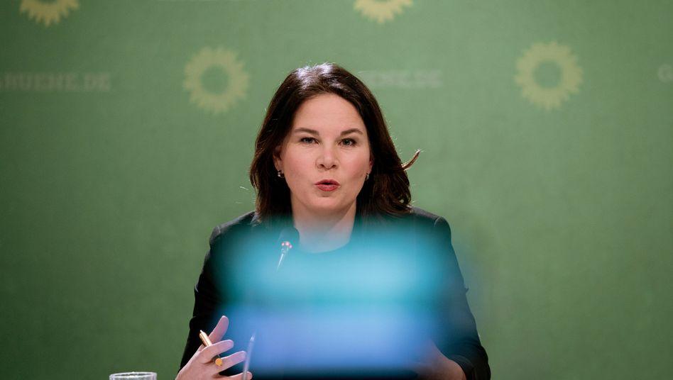 Grünenchefin Annalena Baerbock während der Pressekonferenz zur Jahresauftaktklausur
