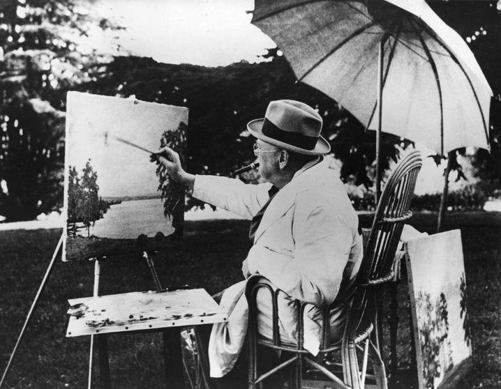 Churchill beim Malen am Genfer See