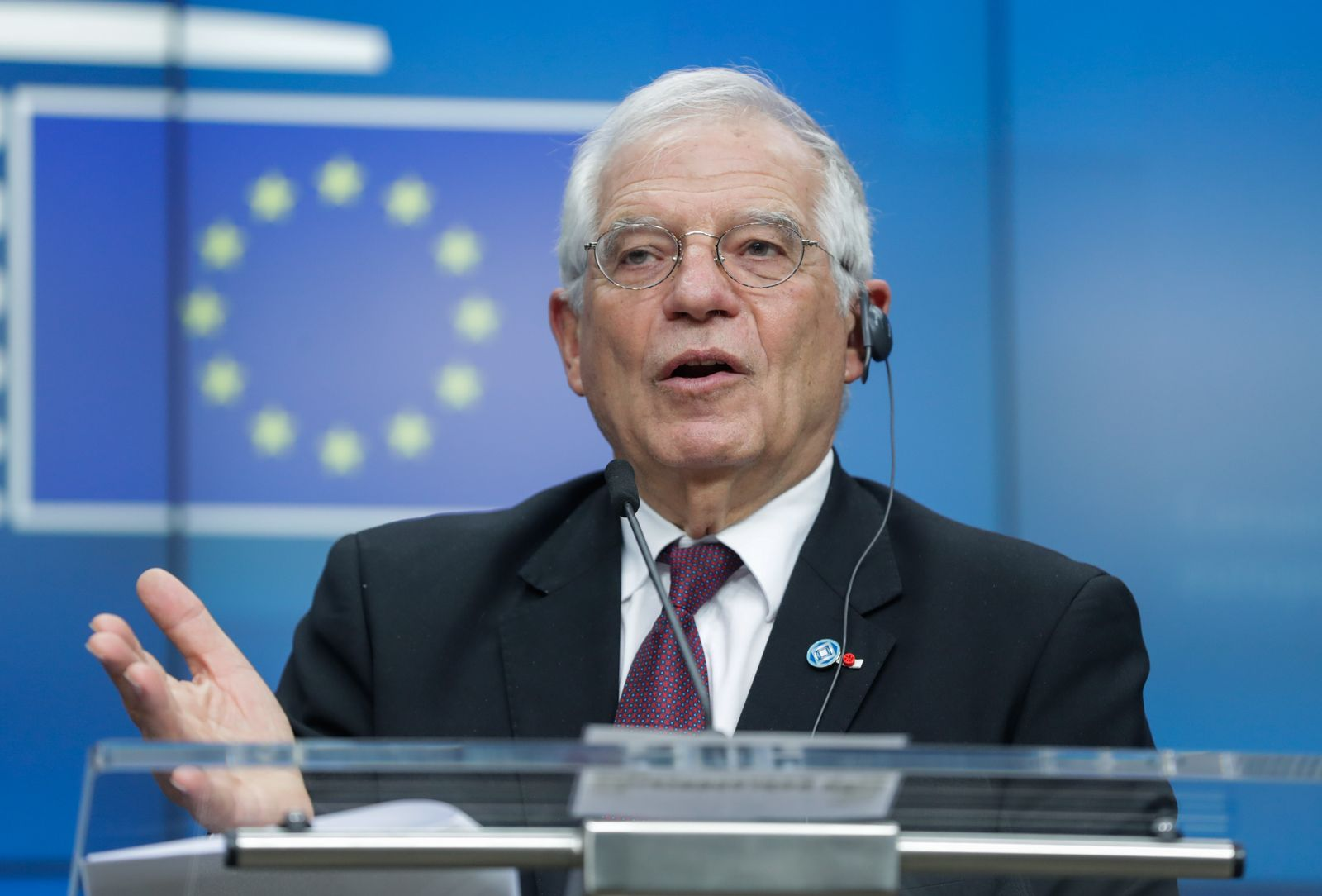Press conference after EU Foreign Affairs Council in Brussels, Belgium - 20 Jan 2020