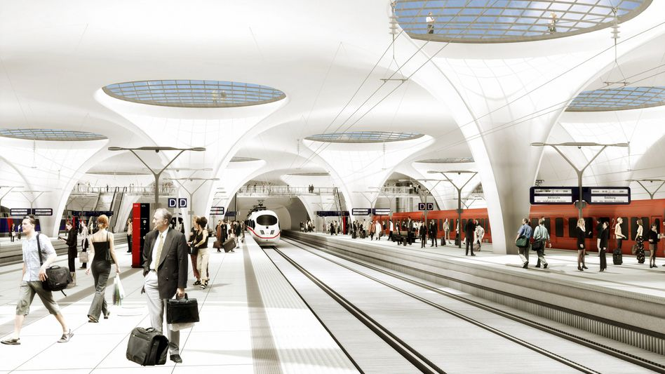 A computer animation of the completed Stuttgart 21 train station: Over €2 billion in new cost overruns.