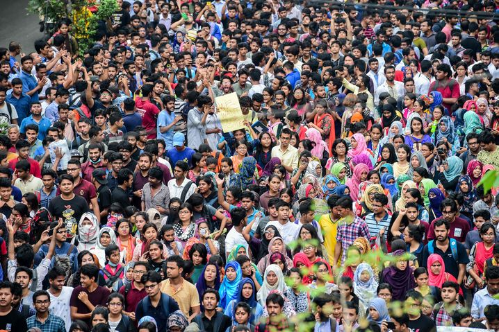 Demonstrierende Studenten in Dhaka