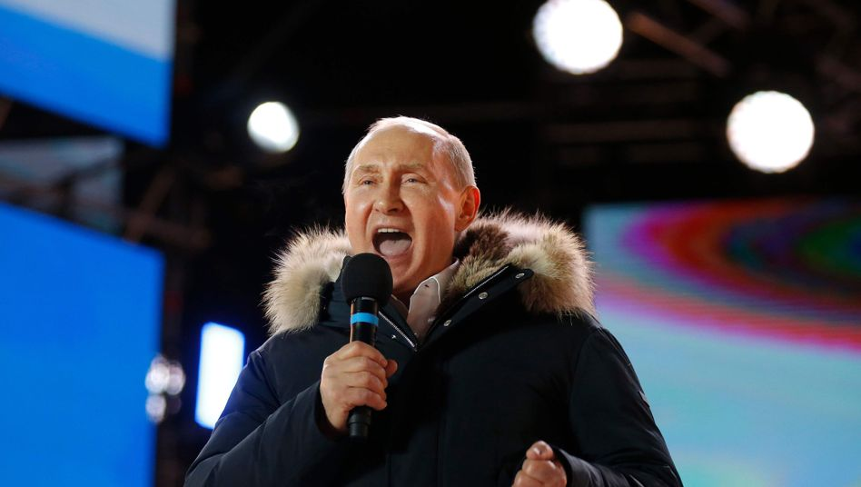 Wladimir Putin am Abend der Präsidentschaftswahl