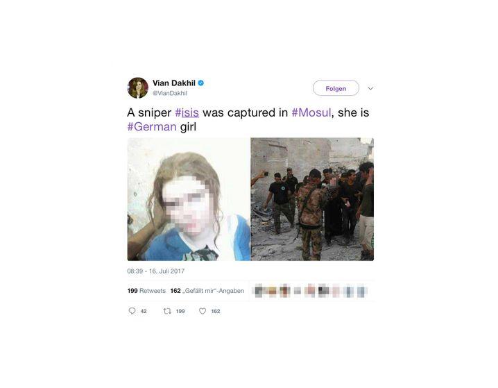 Tweet mit einem Bild von Linda W. nach ihrer Festnahme im Irak