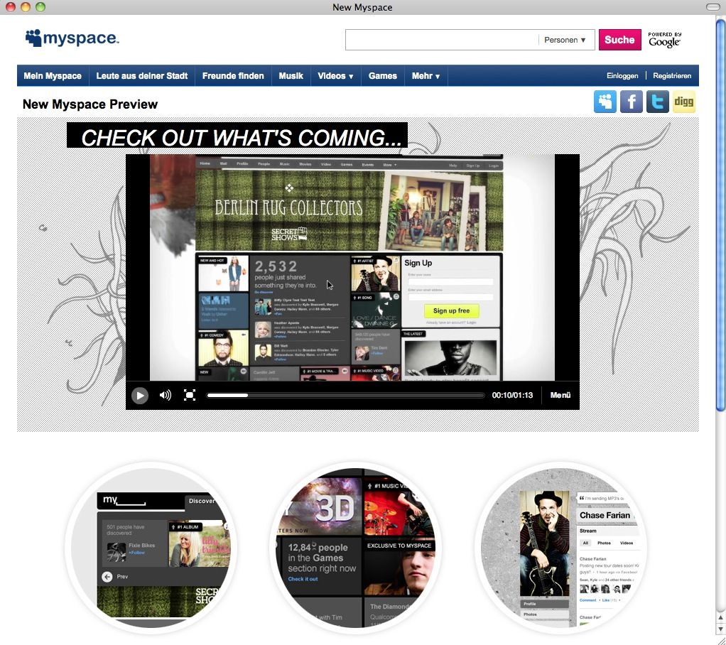 SCREEHSHOT Myspace / Relaunch