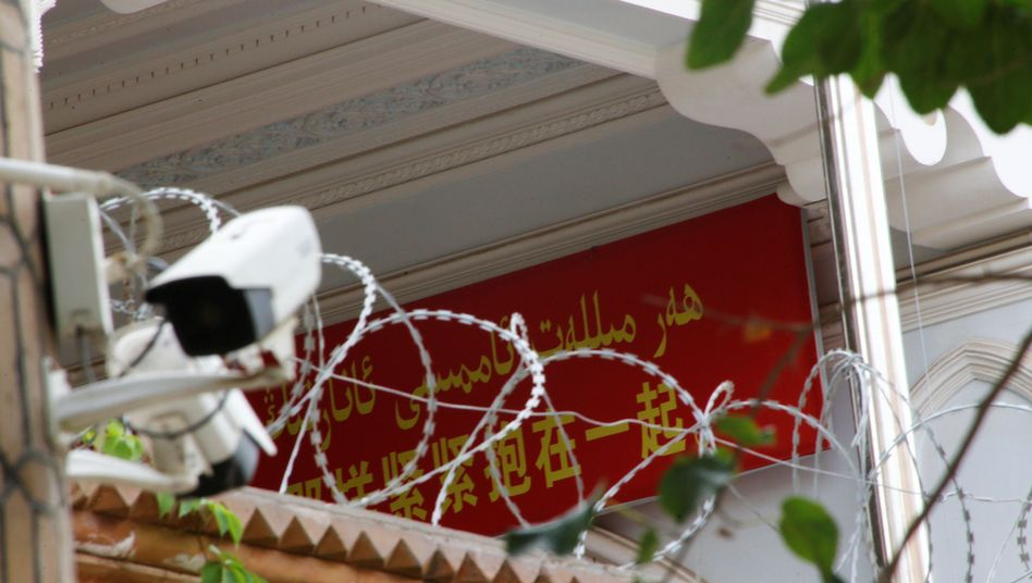 Überwachungskamera an einer Moschee in der Xinjiang-Region (Archivbild): Protest aus den USA