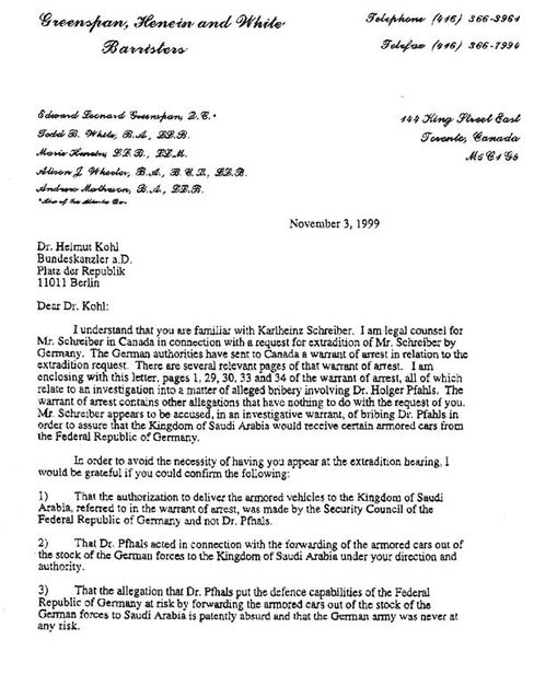 Die erste Seite des Schreibens von Greenspan an Kohl vom 3. November 1999