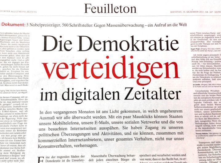 """FAZ-Feuilleton, Aufruf """"Die Demokratie verteidigen"""""""