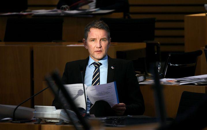 Thüringer AfD-Fraktions- und Landeschef Björn Höcke im Landtag von Erfurt
