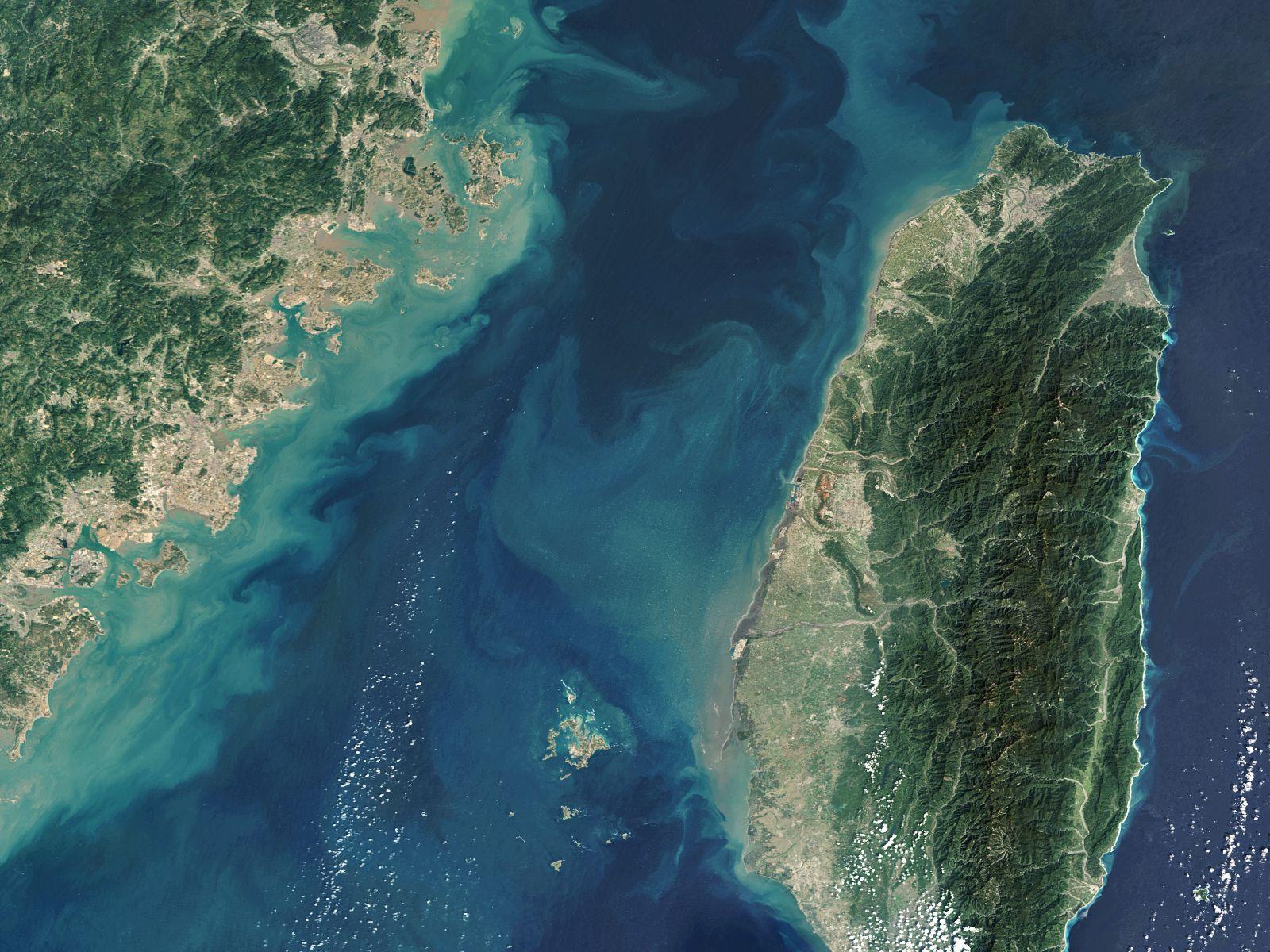Satellite views of Taiwan Straight