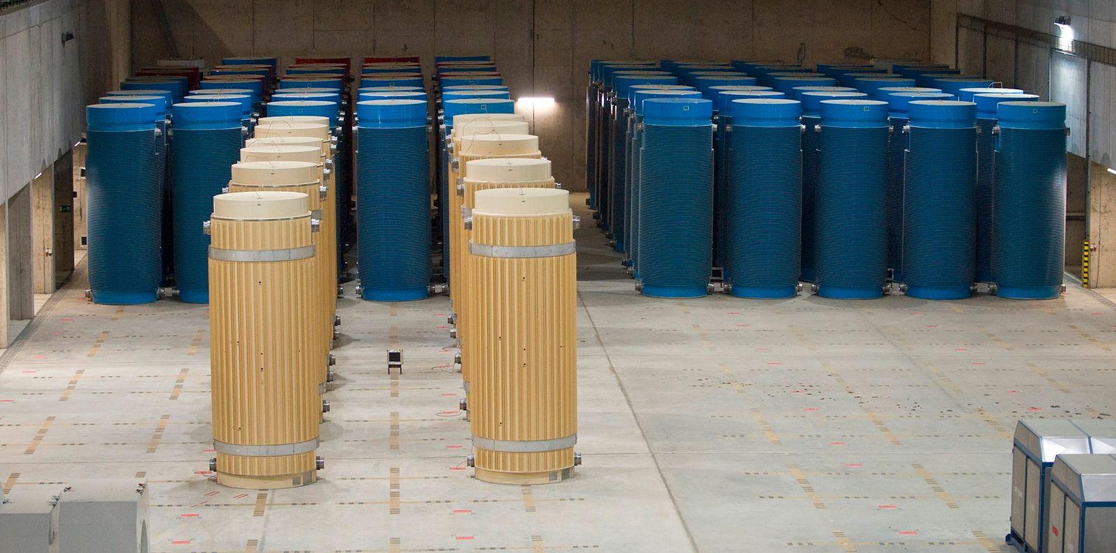 'Castor' containers stand in 'Zwischnlager Gorleben' temporary nuclear waste storage facility in Gorleben
