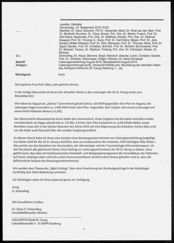 """E-Mail des Klinikdirektors im AK St. Georg (Ausriss): """"Ergebnis weiter verschlechtert"""""""