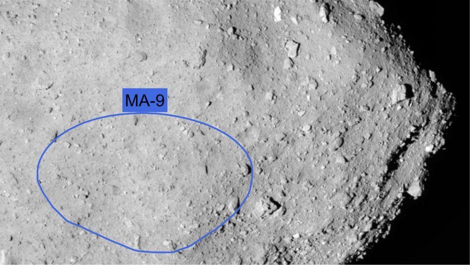 Geplante Landestelle auf dem Asteroiden Ryugu