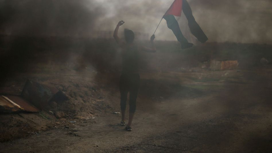 A protester in the Gaza Strip on Thursday