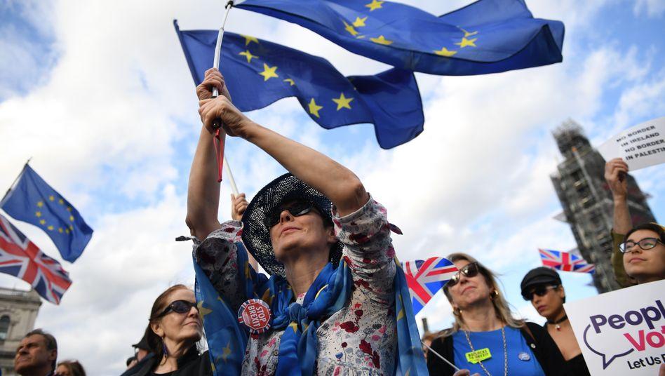 Protest gegen den EU-Austritt. Die Parlamentarier werden nun in eine verlängerte Pause geschickt