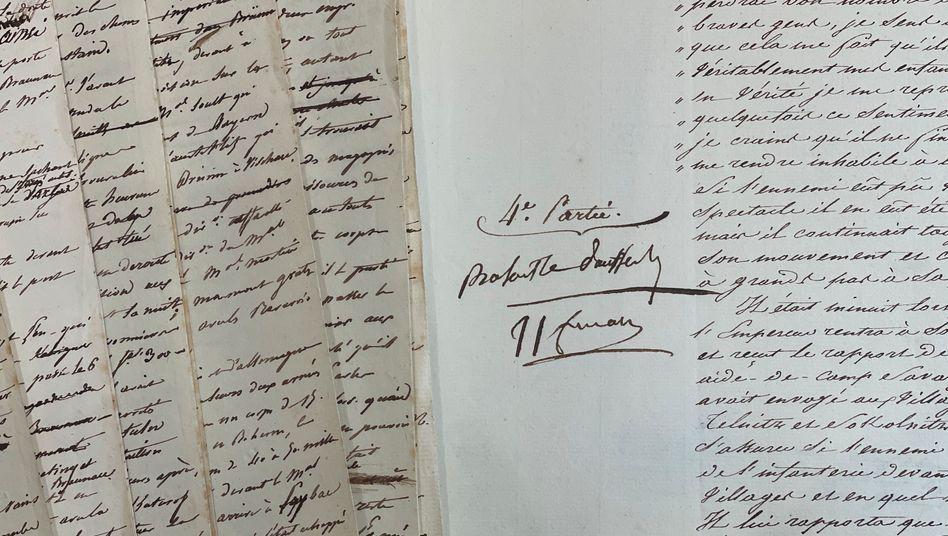 Napoleons Anmerkungen im Manuskript zur Schlacht von Austerlitz