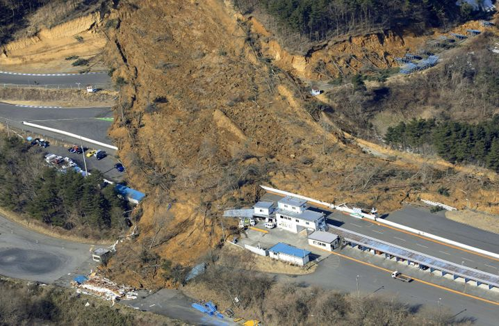 Von einem Erdrutsch zerstörte Rennstrecke