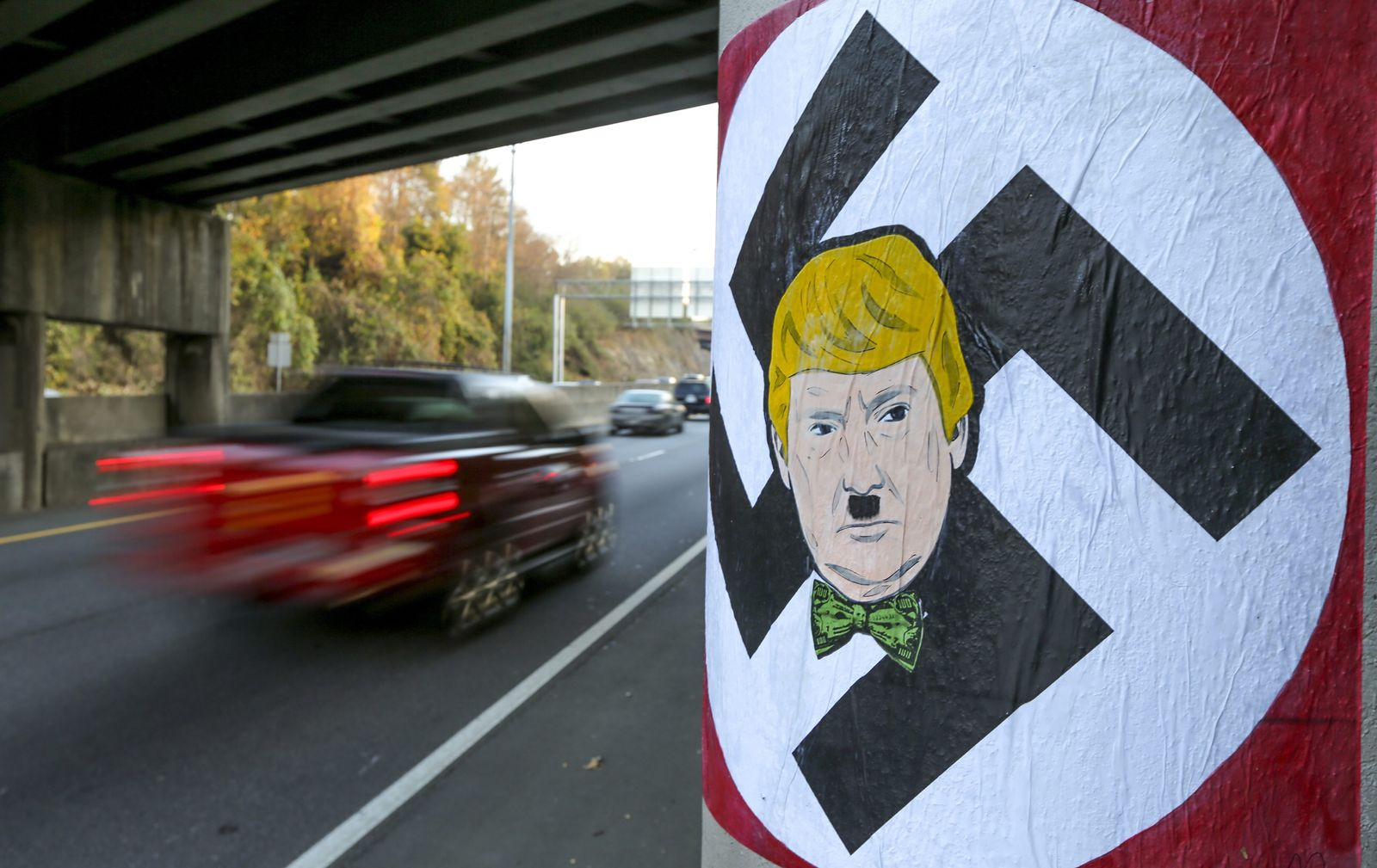 Trumps likeness painted with Hitler mustache and swastika in Atl