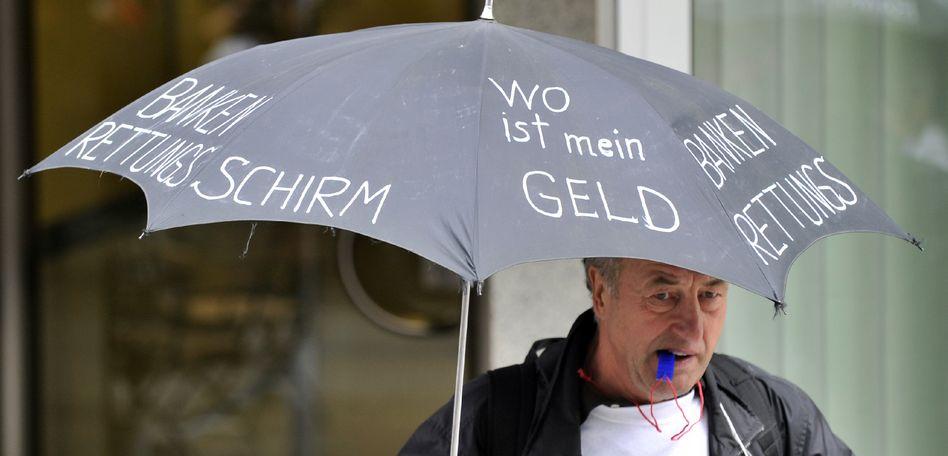 Demonstrant am Jahrestag der Lehman-Pleite: Greenomics oder Sozialstaat 2.0