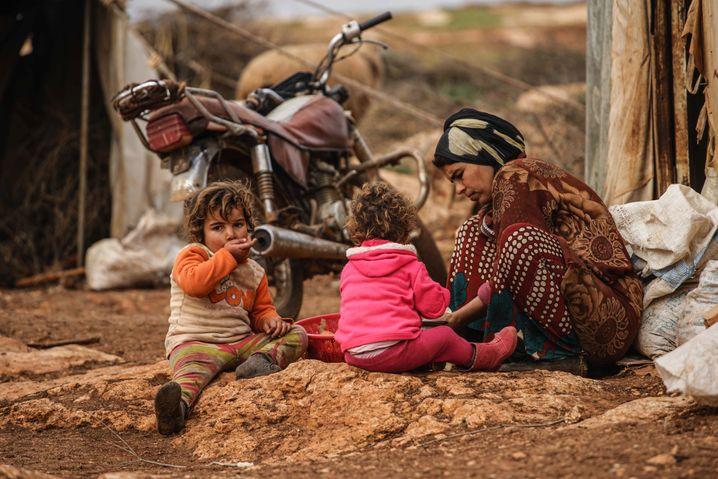 Geflohene Zivilisten in der Region Idlib