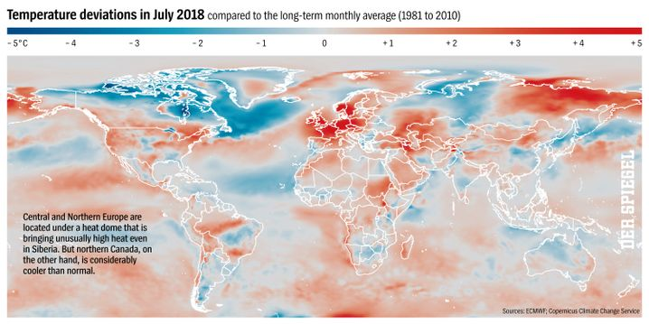 Graphic: Temperature Deviations in July 2018