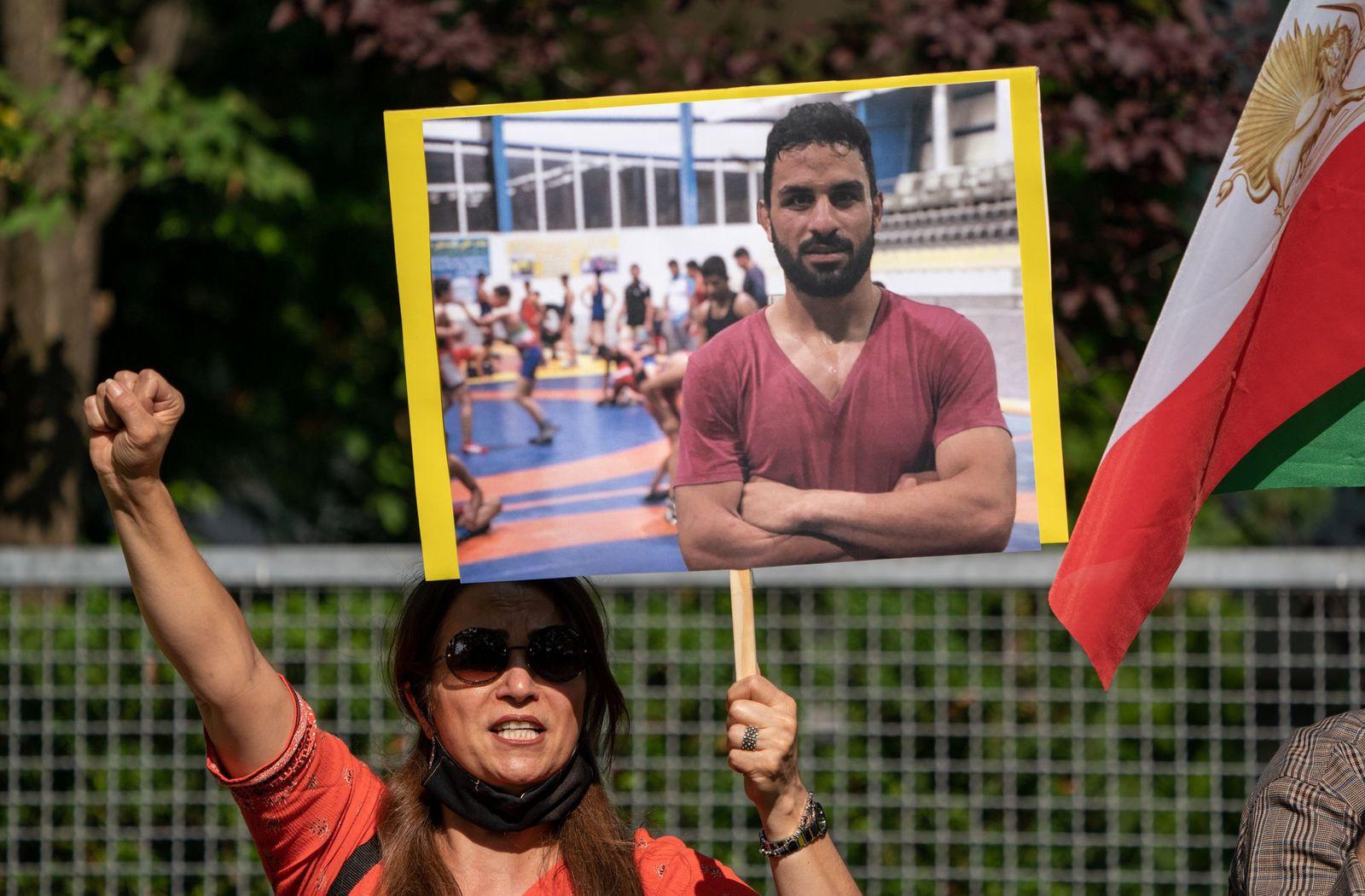 Protest in Berlin against execution of Iranian wrestler Navid Afkari, Deu - 12 Sep 2020