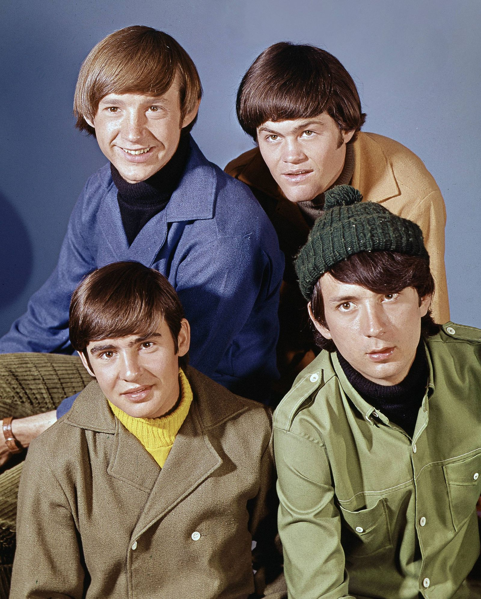 Publicity photo of The Monkees pop music group Peter Tork Mickey Dolenz Mike Nesmith and Davy Jo