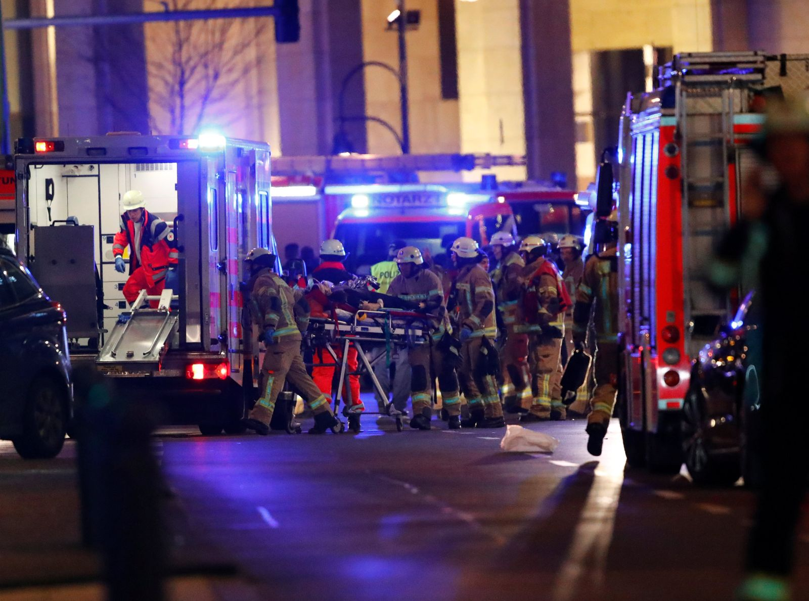 Police and emergency workers are at the site of an accident at a Christmas market in Berlin