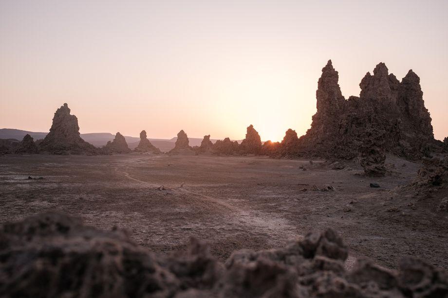Kalksteinkegel am Abbe See in der Afar-Senke: Einer der unwirtlichsten Orte der Welt
