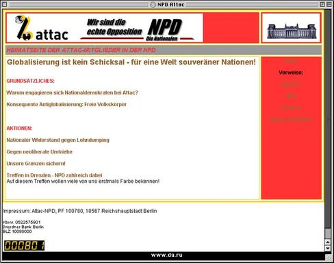 Gefälscht:Gemeinsamer Internetauftritt von Attac und NPD